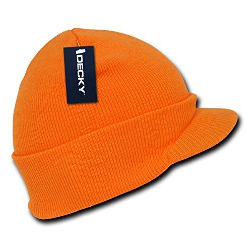 Decky Inc Acrylic Winter Neon Jeep Visor Beanie Skull Hat 7009 Neon Orange ()