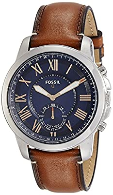 Fossil FTW1122 Q Grant Gen 2 Hybrid Smartwatch, Light Brown Leather