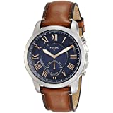 Fossil Q Men's Grant Stainless Steel and Leather Hybrid Smartwatch, Color: Silver-Tone, Brown (Model: FTW1122)