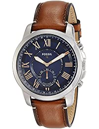Q Men's Grant Stainless Steel and Leather Hybrid Smartwatch, Color: Silver-Tone, Brown (Model: FTW1122)