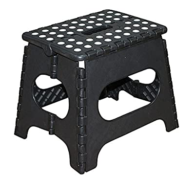 Jeronic 11 Inches Super Strong Folding Step Stool for Adults and Kids, Black Kitchen Stepping Stools, Garden Step Stool, holds up to 300 LBS