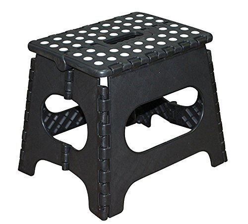 Jeronic 11-Inch Plastic Folding Step Stool, Black Folding Step Stool