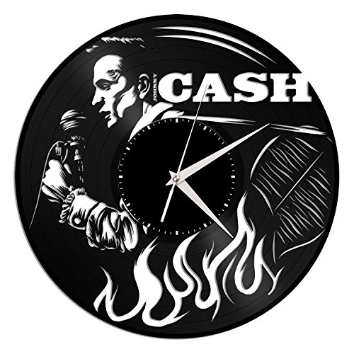 VinylShopUS – Johnny Cash Vinyl Wall Clock Music Bands and Musicians Themed Unique Gift For Sale