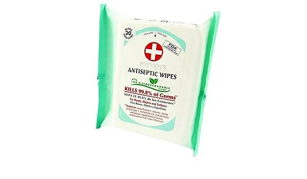 Antiséptico toallitas antibacteriales/antisépticos de Preven Wipes/Antiseptiques lingettes - contenido de 20 paños - 1-Pack: Amazon.es: Belleza