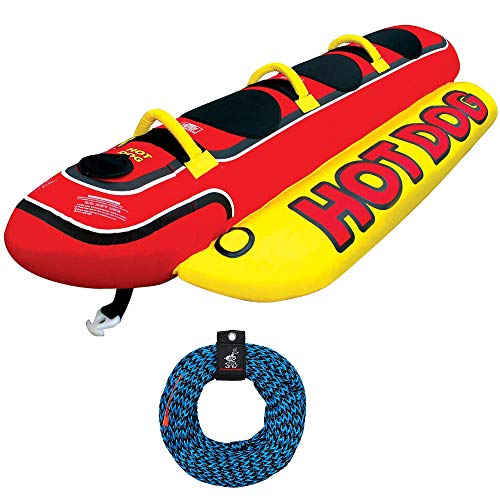 Airhead Hot Dog Inflatable 3 Person Boat Lake Tube w/Towing Rope 60 Feet Long