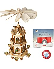 Set of BRUBAKER Christmas Pyramid 3-Tier 18 Inches + 20 Red Candles + Stick-Um Candle Adhesive