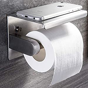 YIGII Toilet Paper Holder - StainlessSteel Toilet Paper Roll Holder with Shelf Wall Mounted for Bathroom Brushed
