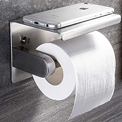 YIGII Toilet Paper Holder - Stainless Steel Toilet Paper Roll Holder with Shelf Wall Mounted for Bathroom Brushed