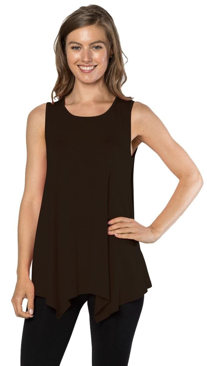 Velucci Womens Tunic Tank Top T-Shirt - Loose Basic Sleeveless Tee Shirt Blouse, (Black-XL)