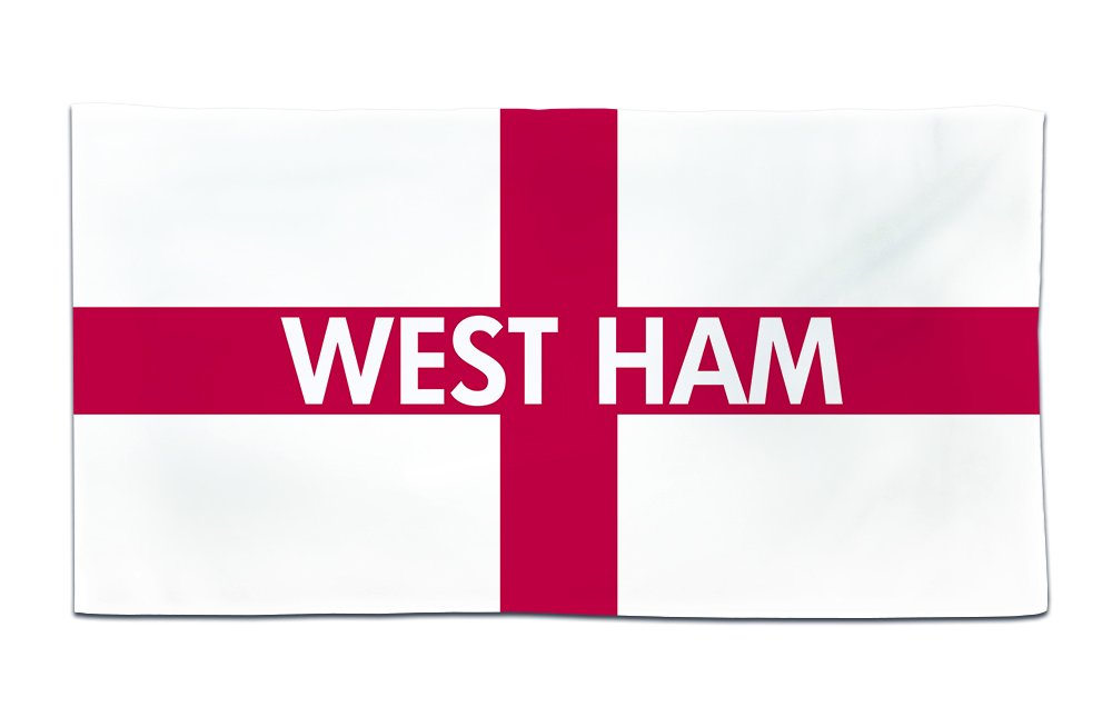 West Ham, Village, Town, Or City Location, England Flag Towel Design, Size 55in x 27.5in, Good Quality, Print Side Microfibre 100% Polyester, Reverse 100% Cotton. Fresh Publishing Ltd