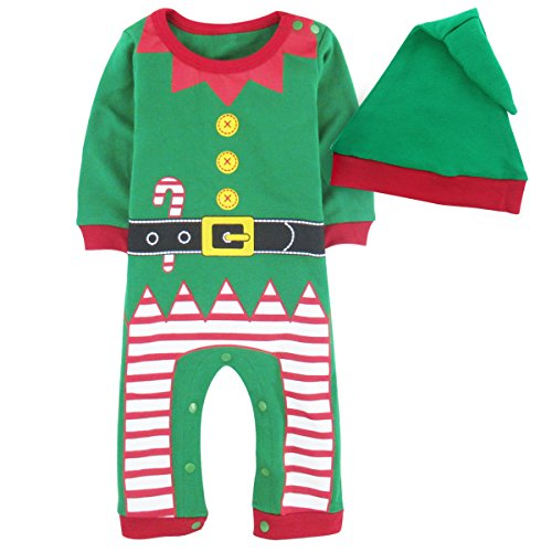 Elf Infant Costumes (A&J Design Baby Infant Christmas Fairy Costume Outfit Romper With Hat (6-12 Months, Elf))