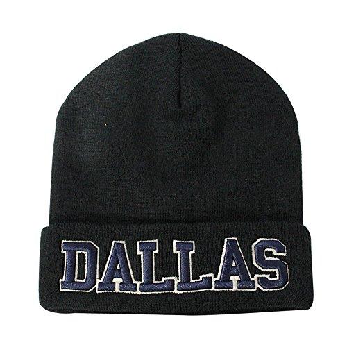 Skull With Cowboy Hat (ChoKoLids Classic Cuff Beanie Hat - Black Cuffed Football Winter Skully Hat Knit Toque Cap (Dallas))