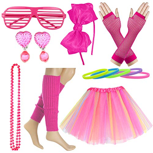 Kid Girl 80s Costume Accessories Rainbow Tutu Skirt with Neon Bracelet Necklace Set (Hot Pink)]()