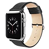 Simpeak Apple Watch Bands 42mm, Replacement Genuine Leather Band Strap with Stainless Steel Clasp for Apple Watch Series 2, Series 1, Sport, Edition, Black