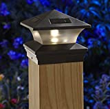 Moonrays 91268 Solar-Powered Post Cap LED Light for 6 by 6 Posts, Black