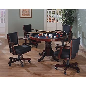 Awesome Three In One Cherry Finished Wood Pool Poker Game Dining Table Chairs Set