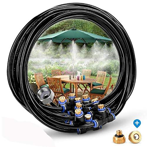 ZivaTech Misting Cooling System 8M Misting Line 9 Brass Mist Nozzles + a Brass Adapter(3/4) Misting System Kit for Outdoor Swimming Pool Cooling Garden Greenhouse Irrigation Reptile Mosquito Prevent by ZivaTech