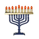 Israel Giftware Designs Electric Blue Enamel Menorah Comes with a set of bulbs