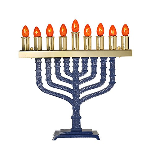 Israel Giftware Designs Electric Blue Enamel Menorah Comes with a set of bulbs by Israel Giftware Designs