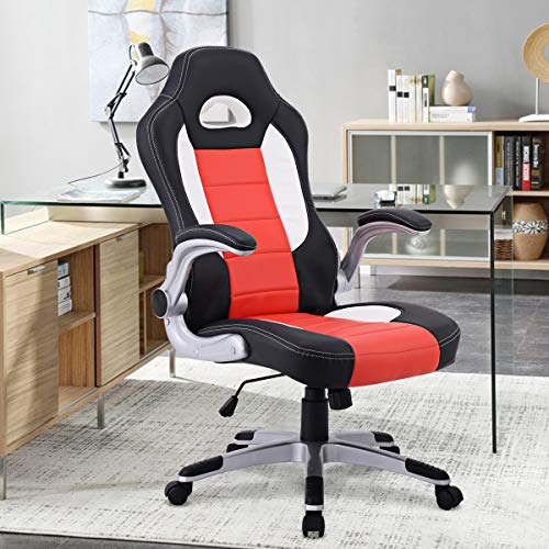 Giantex Ergonomic Gaming Chair High Back Leather Computer Executive Chair