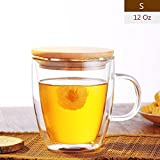 Awon GYBL088 Double-Wall Insulated Glass Espresso Mugs, Coffee Milk Tea Cups, Set of 2 (12 Oz)