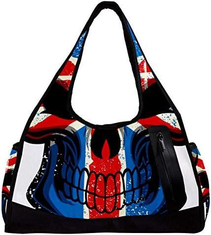スポーツバッグ ボストンバッグ 修学旅行カバン トートバッグ 髑髏 ドクロ スカル レディース メンズ 軽量 手提げバッグ マザーズバッグ