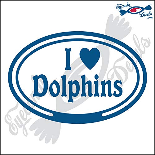 (Eyecandy Decals I Love Dolphins in Oval 5 INCH Decal Blue)
