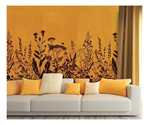 Large Wall Mural Vintage Style Black Flowers on Orange Background Vinyl Wallpaper Removable Wall Decor