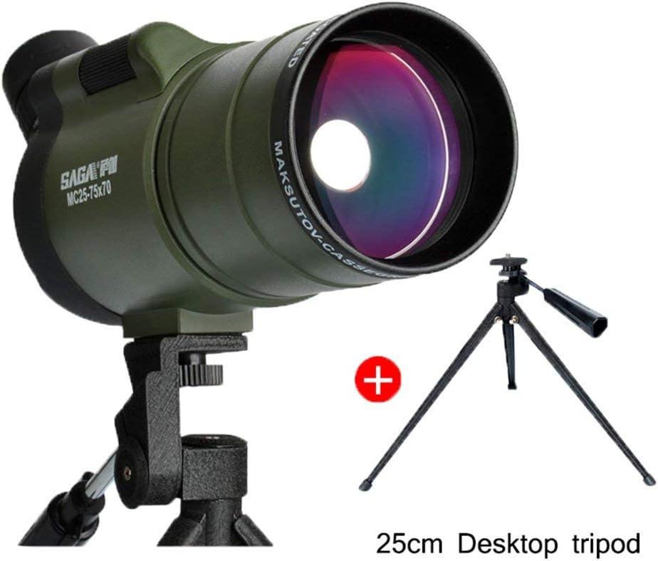 LJY Viajando para ver el telescopio escénico, manchado de 25-75 x 70, trípodes y bolsas a prueba de choques a prueba de golpes a prueba de golpes Scope Ipx7 Vea reloj de tiro con arco,Alcance + trípo