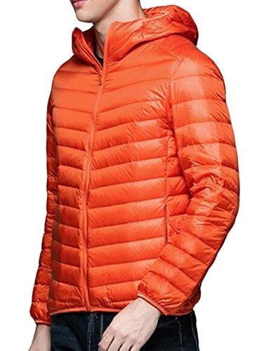 Down Coat Warm Men's Orange S EKU Jacket Puffer Casual Hooded Packable US Y4HwZHq