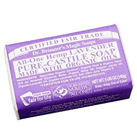 Dr. Bronner's - Pure-Castile Bar Soap (Lavender, 5 ounce, 6-Pack) - Made with Organic Oils, For Face, Body and Hair, Gentle and Moisturizing, Biodegradable, Vegan, Cruelty-free, Non-GMO 3 MOISTURIZING LATHER THAT WON'T DRY YOUR FACE, BODY, OR HAIR: Our bar soaps produce a rich lather that won't dry out your skin! Dr. Bronner's is made with only the purest certified organic oils and will leave your skin feeling soft and smooth. MADE WITH ORGANIC OILS THAT ARE GENTLE and EFFECTIVE: We don't add any chelating agents, dyes, whiteners, or synthetic fragrances—only all-natural, vegan ingredients that are gentle, effective, and mild. Use on your face, body, or hair! NO SYNTHETIC PRESERVATIVES, DETERGENTS, OR FOAMING AGENTS: Our Pure-Castile Bar Soap is made with plant-based ingredients you can pronounce—no synthetic preservatives, thickeners, or foaming agents—good for the environment and great for your skin!
