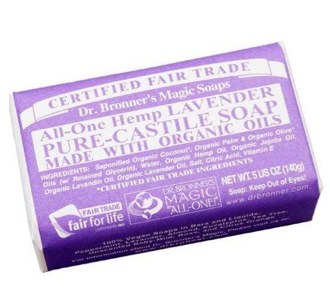 Dr. Bronner's - Pure-Castile Bar Soap (Lavender, 5 ounce, 6-Pack) - Made with Organic Oils, For Face, Body and Hair, Gentle and Moisturizing, Biodegradable, Vegan, Cruelty-free, Non-GMO 1 MOISTURIZING LATHER THAT WON'T DRY YOUR FACE, BODY, OR HAIR: Our bar soaps produce a rich lather that won't dry out your skin! Dr. Bronner's is made with only the purest certified organic oils and will leave your skin feeling soft and smooth. MADE WITH ORGANIC OILS THAT ARE GENTLE and EFFECTIVE: We don't add any chelating agents, dyes, whiteners, or synthetic fragrances—only all-natural, vegan ingredients that are gentle, effective, and mild. Use on your face, body, or hair! NO SYNTHETIC PRESERVATIVES, DETERGENTS, OR FOAMING AGENTS: Our Pure-Castile Bar Soap is made with plant-based ingredients you can pronounce—no synthetic preservatives, thickeners, or foaming agents—good for the environment and great for your skin!