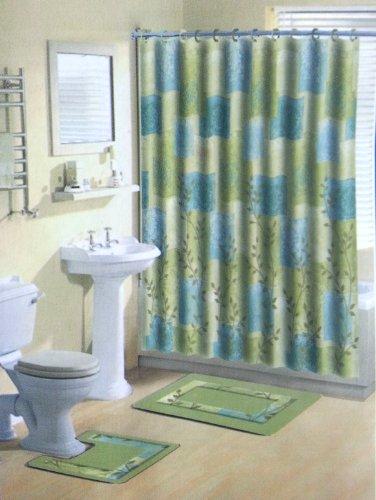 Home Dynamix 331 309 Bath Boutique Poly Acrylic 15 Piece Bathroom Set Blue Shower Curtain Sets