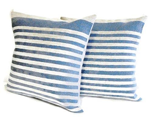 Blue Narrow Stripe Linen Pillow Cover Sham Handmade Vintage Homemade Style 14 X (Summer Cottage Stripe)
