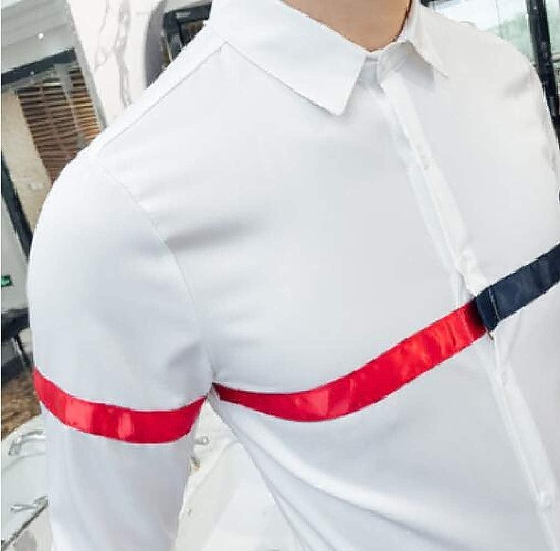 YYG Men Regular Fit Business Splicing Contrast Color Long Sleeve Button Down Blouse Shirt Tops