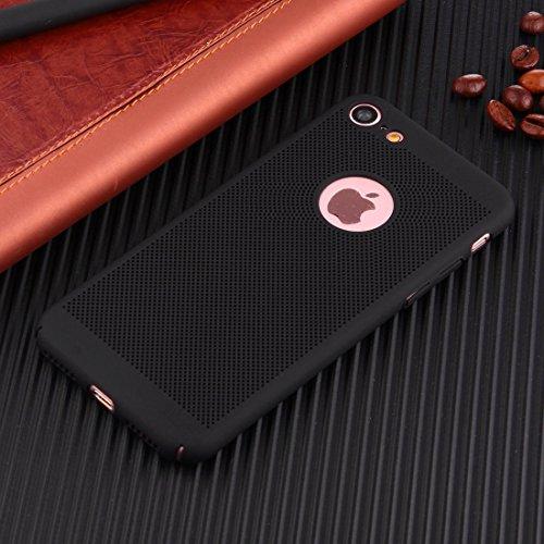 Hülle für iPhone 7 ,Schutzhülle Für iPhone 7 leichte Breathable Full Coverage PC Shockproof schützende rückseitige Abdeckungs-Fall ,cover für apple iPhone 7,case for iphone 7 ( Color : Black )
