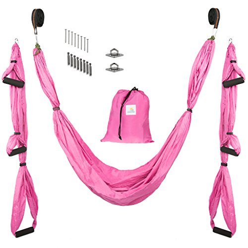 (Yoga Swing/Hammock | Antigravity trapeze includes 2 hanging straps and hardware. Perfect for Inversion and Flexibility)