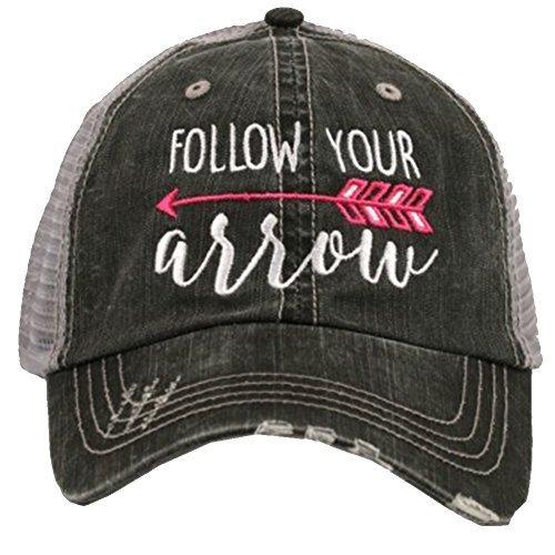 Katydid Follow Your Arrow Women's Trucker Hat-hot pink ()