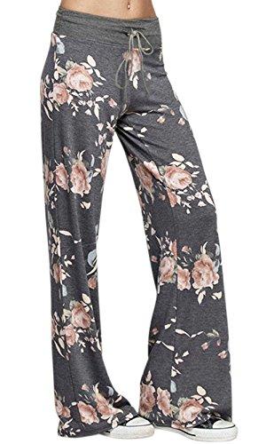 Kafadala Women's Pajama Bottom Sleep Lounge Palazzo Yoga Pants Striped Wide Leg (Tag 3XL(US 14), Deep Grey) Long Length Pant