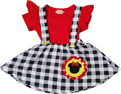 Boutique Toddler Girls Minnie Mouse Head Suspender Skirt Set Red Black 3T/M