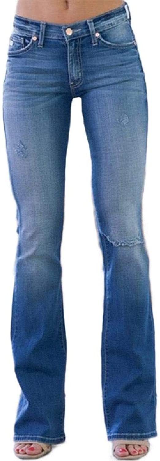 EnergyWD Women Ripped Hole Relaxed Plus-size Denim Pants Washed Curvy Bootcut Jeans