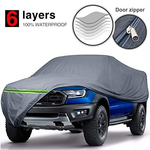 "KAKIT Waterproof Truck Cover 6 Layers Pickup Truck Cover All Weatherproof with Door Zipper for Auto Vehicle Outdoor Indoor(Fit Truck Up to 242"")"