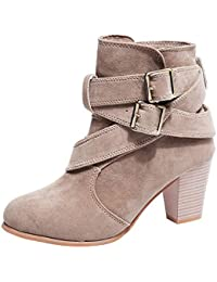 FORUU Women Casual Buckle Strap Shoes Martain Boots Suede...