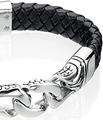 Fred Bennett Men's Jewellery Collection Stainless Steel Black Enamel Leather Bracelet of 23cm