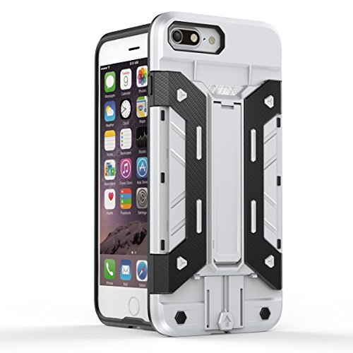 iPhone 7 Plus Hülle, Moonmini® Silber Hanyhülle Dual Layer Armor Case Brieftasche Card Holder Handyhülle Drop Resistance Schutzhülle mit Standfunktion für iPhone 7 Plus