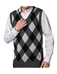 CFD Mens V-neck Sleeveless Sweater Vest Diamond Autumn