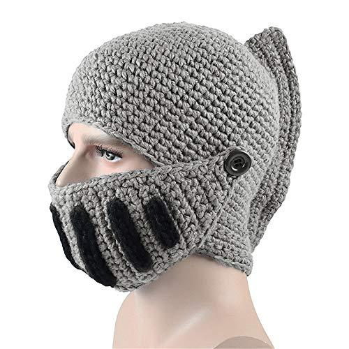 Iusun Unisex Women Men Winter Warm Roman Gladiator Knit Beanie Hat Dome Scarf Set Fleece Mask Neck Warmer Snow Fashion Slouchy Windproof Caps with Visor Stitching Outdoor (Gray)