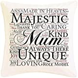 Personalised Mum Word Art Faux Silk Cushion. Suitable for Any Occasion, Birthday, Christmas, Thank You. Mothers Day. Personalised details required. by Pure Essence Greetings