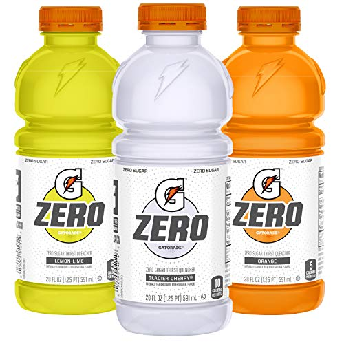 Gatorade Zero Sugar Thirst Quencher, 3 flavor Variety Pack, 20 Ounce Bottles (Pack of 12)