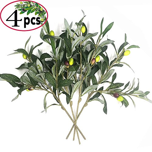 Silk Tree Branches - Artificial Olive Plants Branches Fake Fruits Silk Plants Branch Leaves ndoor Outside Home Garden Office Verandah Decor (4 Pcs)